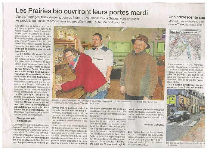 Les Prairies bio, un commerce en circuit court - Guingamp ouestfrance23.01.15